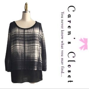 DKNY Pure Black & Gray Graphic Layered Top